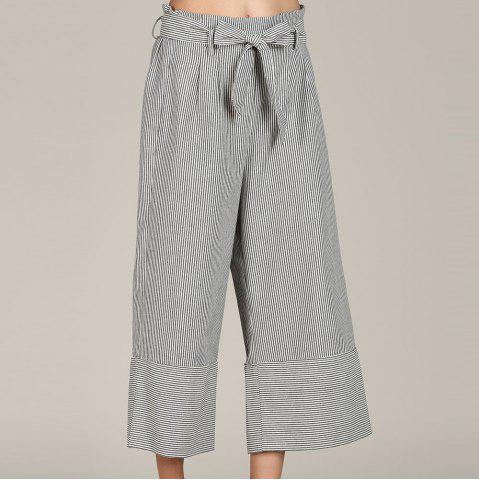 SBETRO Striped Wide Leg Trousers with Bowtie Casual Loose Pants