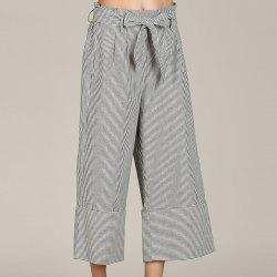 SBETRO Striped Wide Leg Trousers with Bowtie Casual Loose Pants -