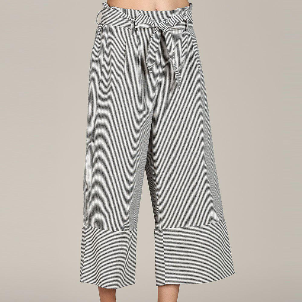 Store SBETRO Striped Wide Leg Trousers with Bowtie Casual Loose Pants