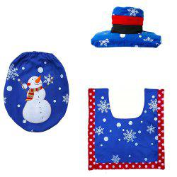 3 Pieces New Style Christmas Ornament Old Man and Snowman Toilet Seat Pad -