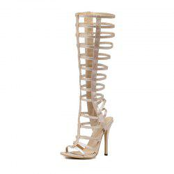 Women's Stiletto Open Toe Fashion Boots European Party Sandals with Cut Out -