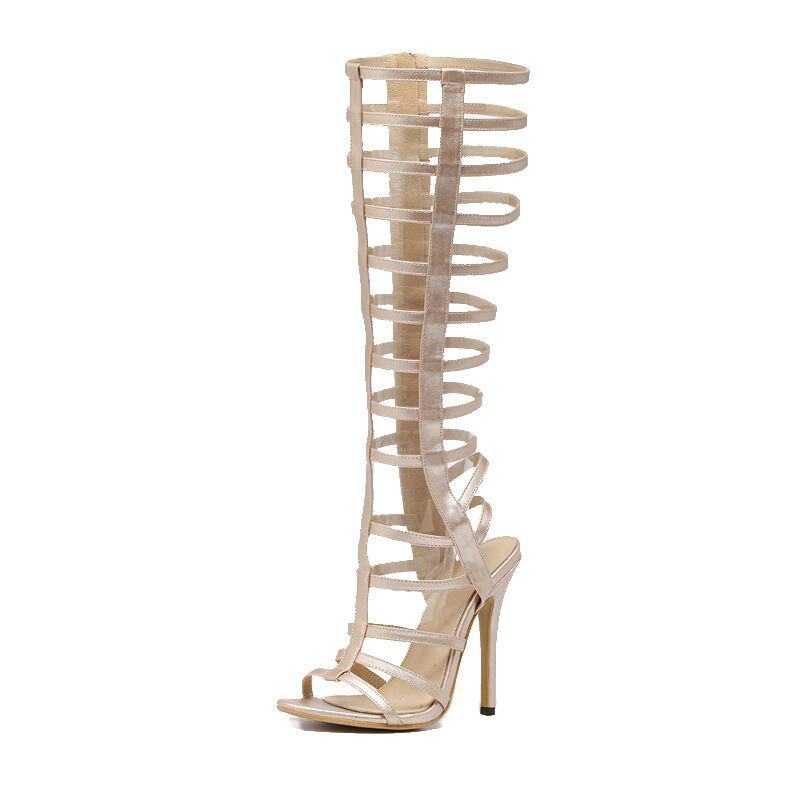 Buy Women's Stiletto Open Toe Fashion Boots European Party Sandals with Cut Out