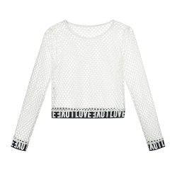 New Women'S Round Collar Short Wear with Long Sleeve Mesh Clothing -