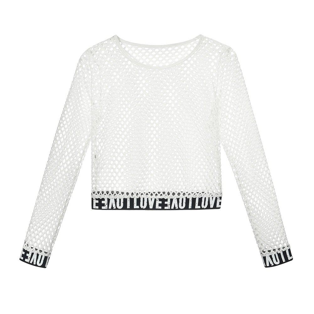 Fashion New Women'S Round Collar Short Wear with Long Sleeve Mesh Clothing