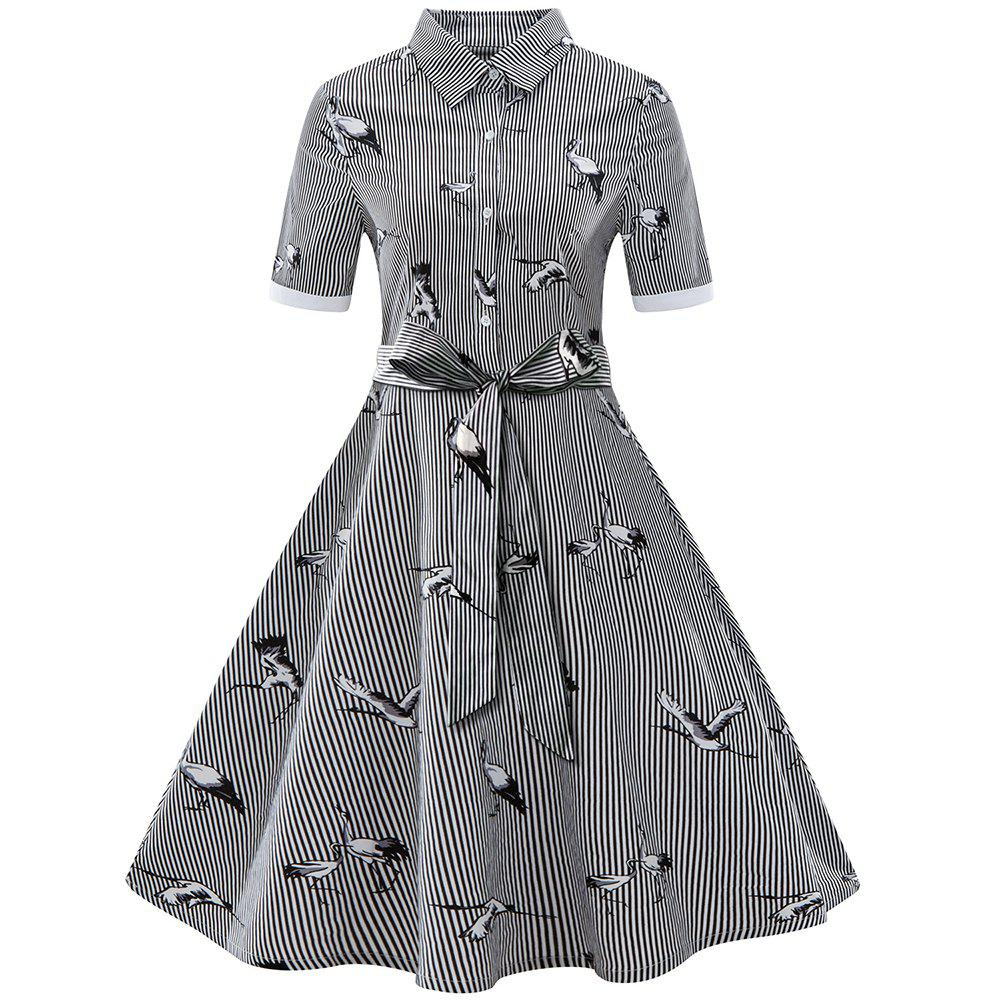 Affordable Ladies Striped Lapel Big Swing Dress