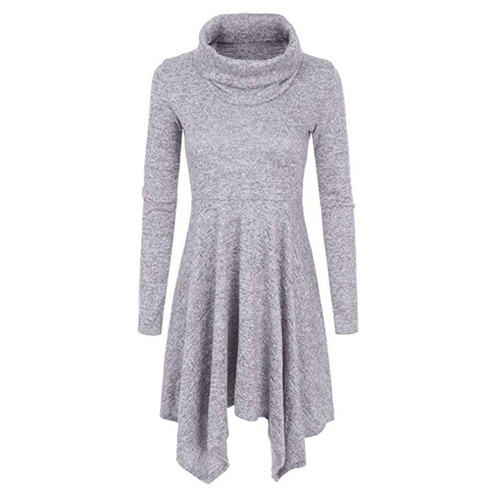 Outfit High Necked Knitted Plain Irregular Long Sleeved Dress