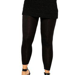 KISSMILK Women'S Plus Black High Waisted Elastic Leggings Black -
