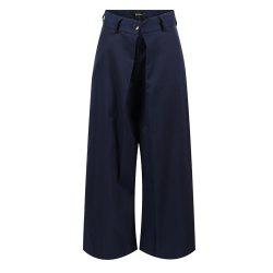 HAODUOYI Women's Fashion Solid Color High Waist Wide Leg Pants Blue -
