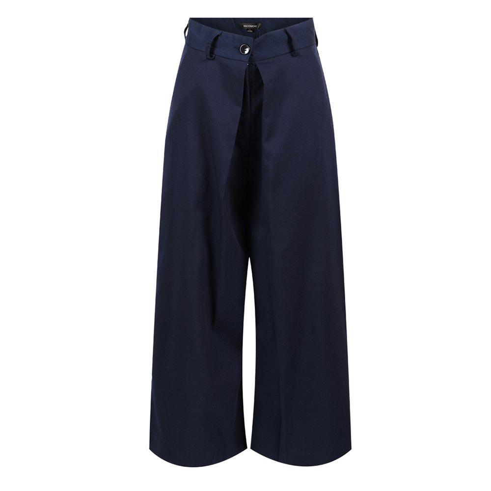 Sale HAODUOYI Women's Fashion Solid Color High Waist Wide Leg Pants Blue
