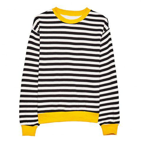 HAODUOYI Women's Casual Simple Black and White Striped Wild T-Shirt Multicolor