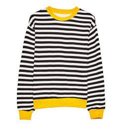 HAODUOYI Women's Casual Simple Black and White Striped Wild T-Shirt Multicolor -