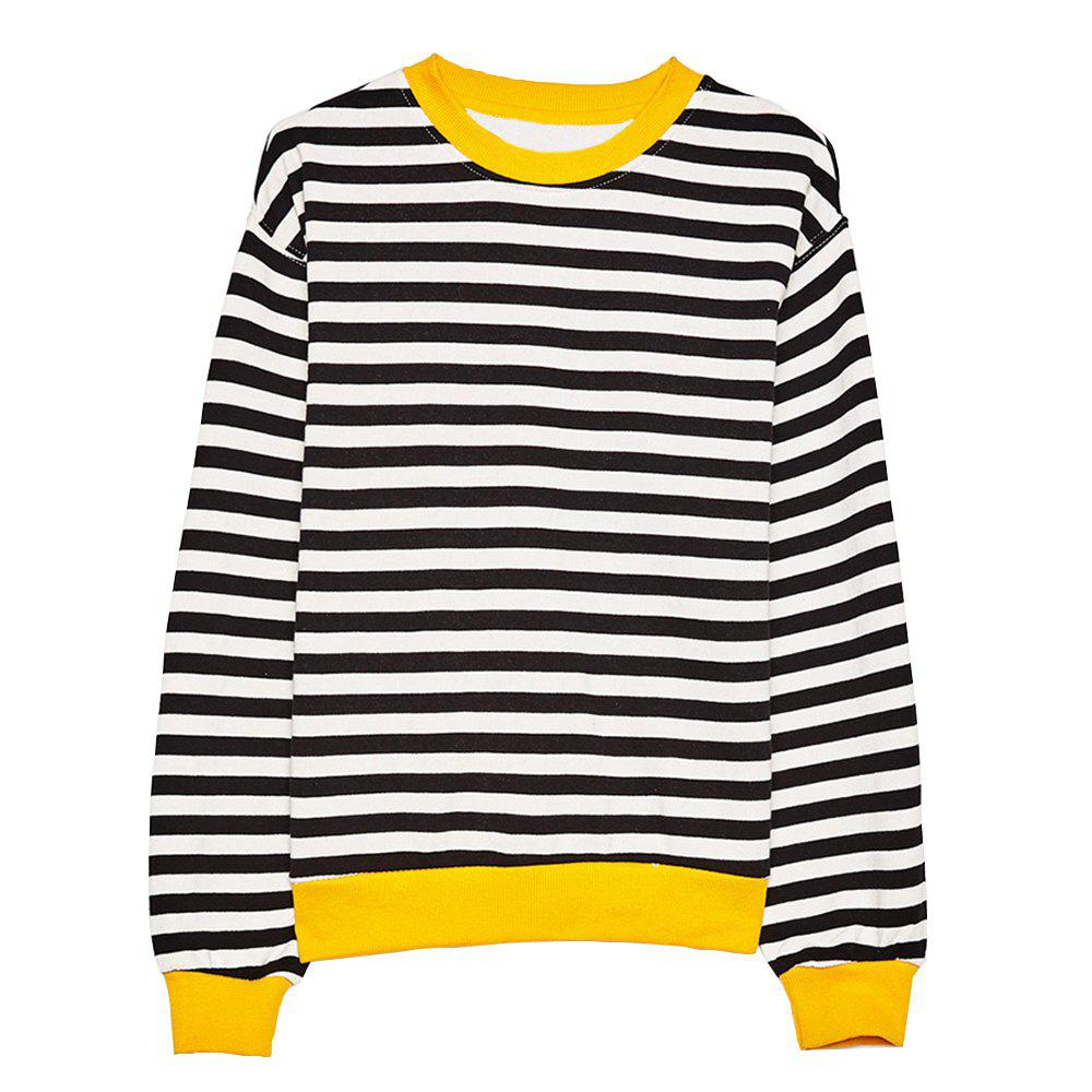 Fashion HAODUOYI Women's Casual Simple Black and White Striped Wild T-Shirt Multicolor