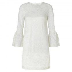 HAODUOYI Women's Delicate Floral Embroidered Cutout Flare Sleeve Dress White -