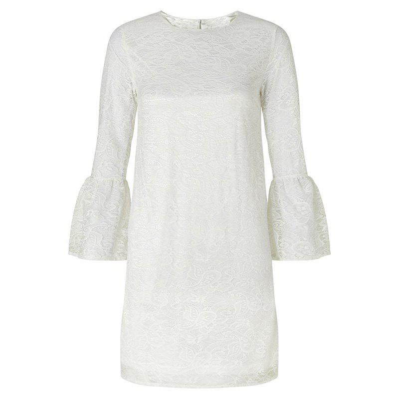 Outfit HAODUOYI Women's Delicate Floral Embroidered Cutout Flare Sleeve Dress White
