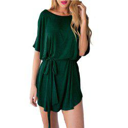 Knitted Bat Sleeve Sleeve Waist Waist Belt Pure Color Dress -
