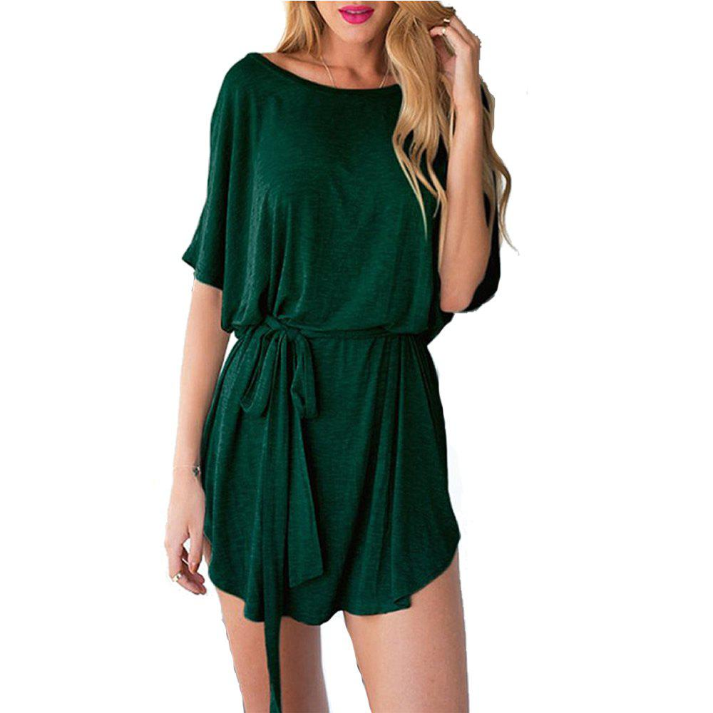 Outfit Knitted Bat Sleeve Sleeve Waist Waist Belt Pure Color Dress
