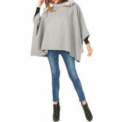 Add Fat Size Coat Wool Like Cloak -