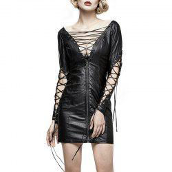 Sexy Hollow Out Lace-up PU Leather Dress for Women -
