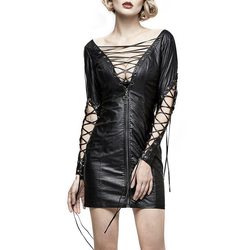 Fashion Sexy Hollow Out Lace-up PU Leather Dress for Women