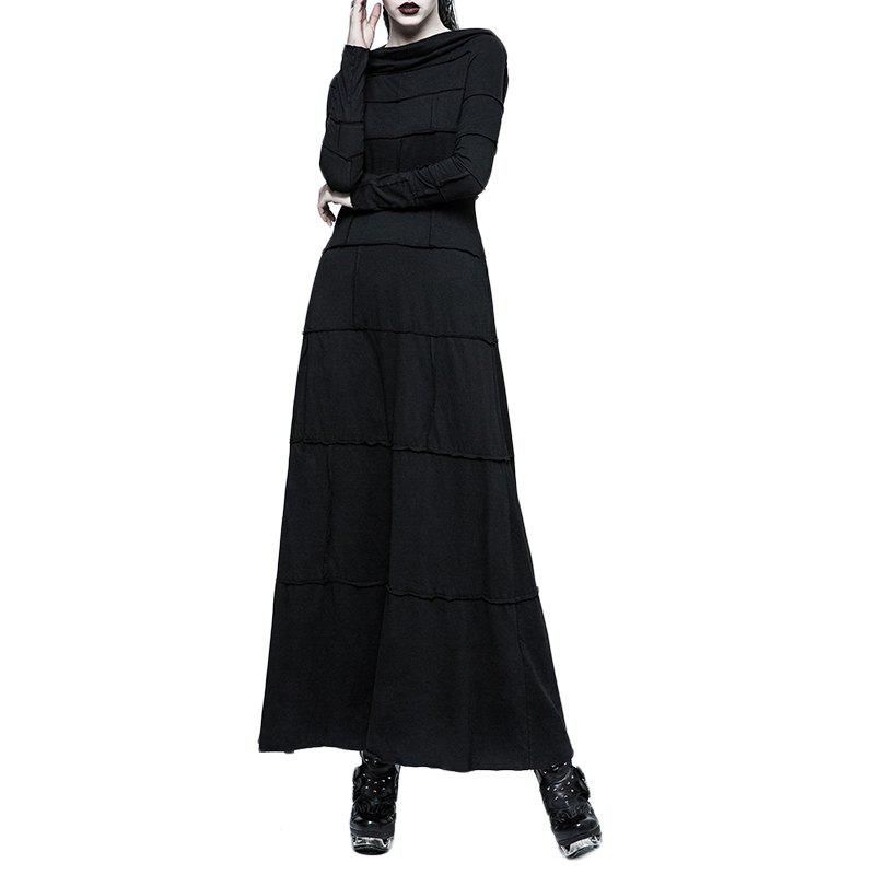 Chic Extreme Straight Split Big Hat Women long Dress