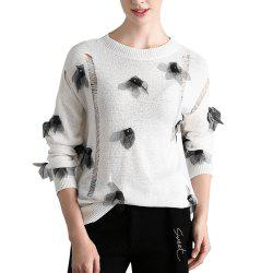 Openwork Applique Knit Sweater -
