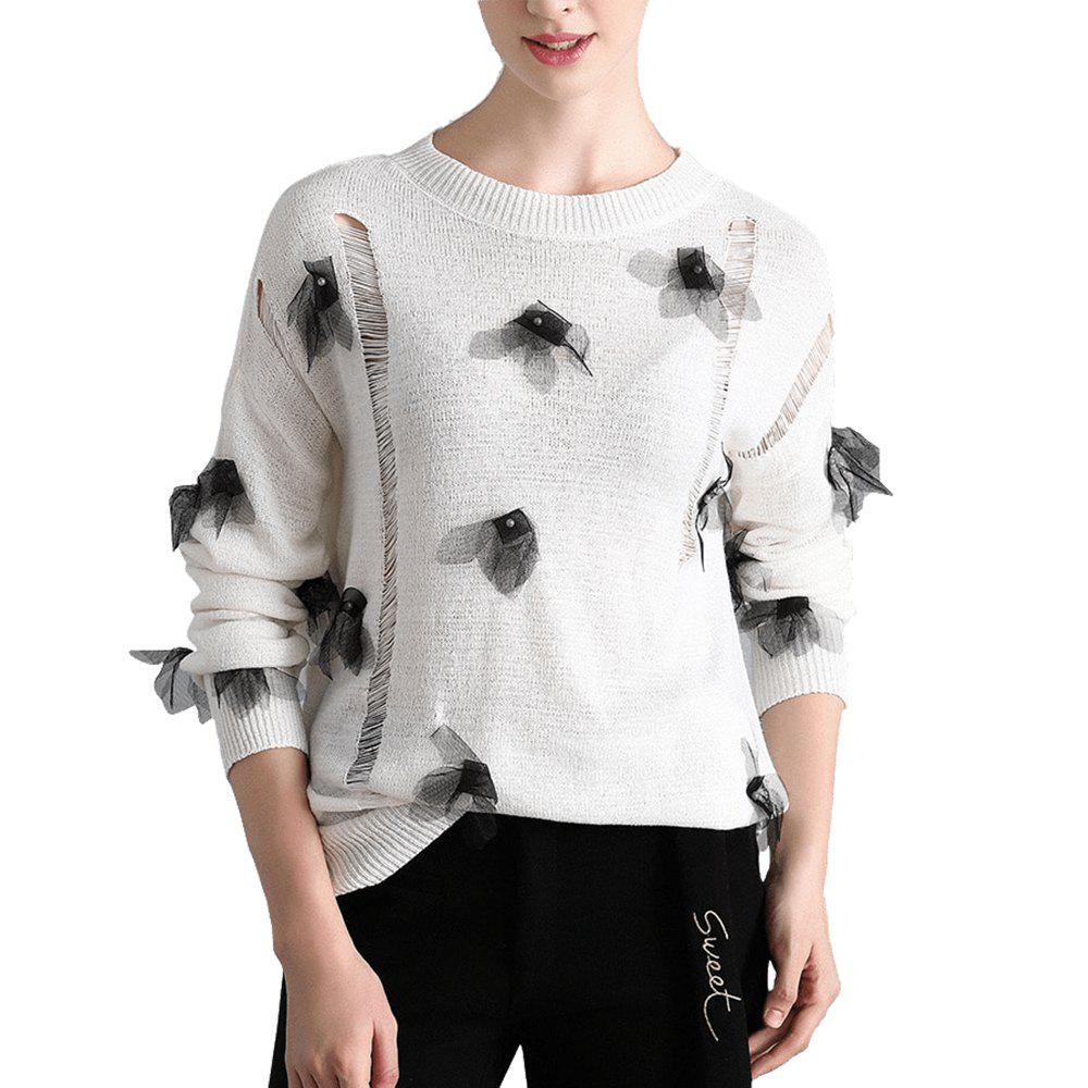Unique Openwork Applique Knit Sweater