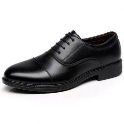 Men's Leather Shoes School Officer Casual Style Black Color -