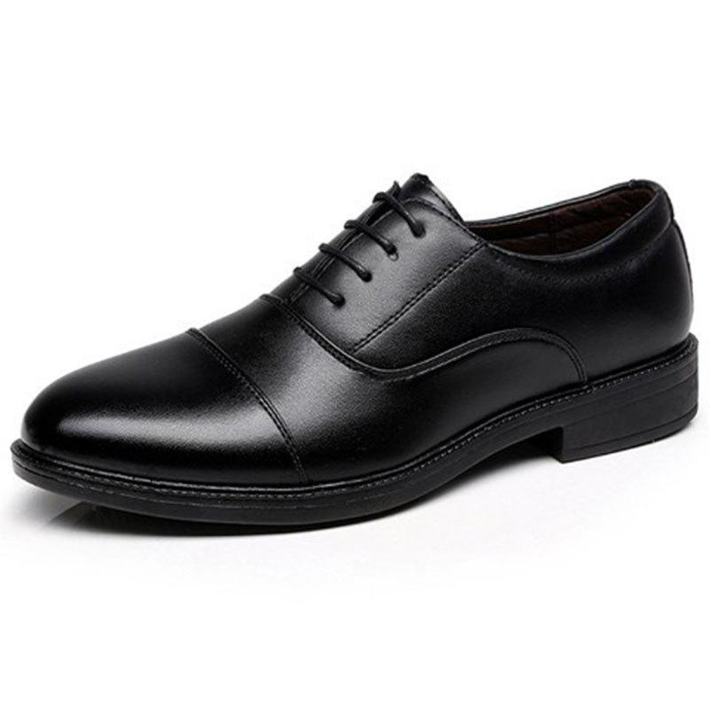 Affordable Men's Leather Shoes School Officer Casual Style Black Color