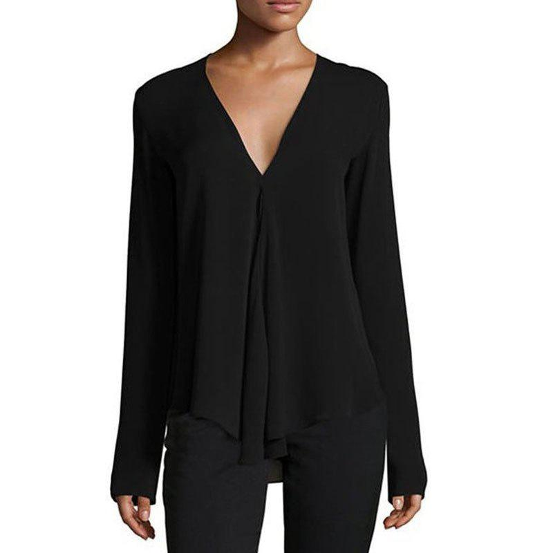 Outfits Fashion Summer New Deep V-neck Solid Color Long-sleeved Loose Chiffon Shirt