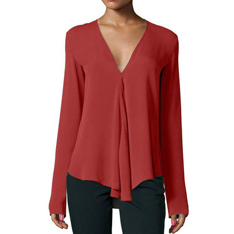 Trendy Fashion Summer New Deep V-neck Solid Color Long-sleeved Loose Chiffon Shirt