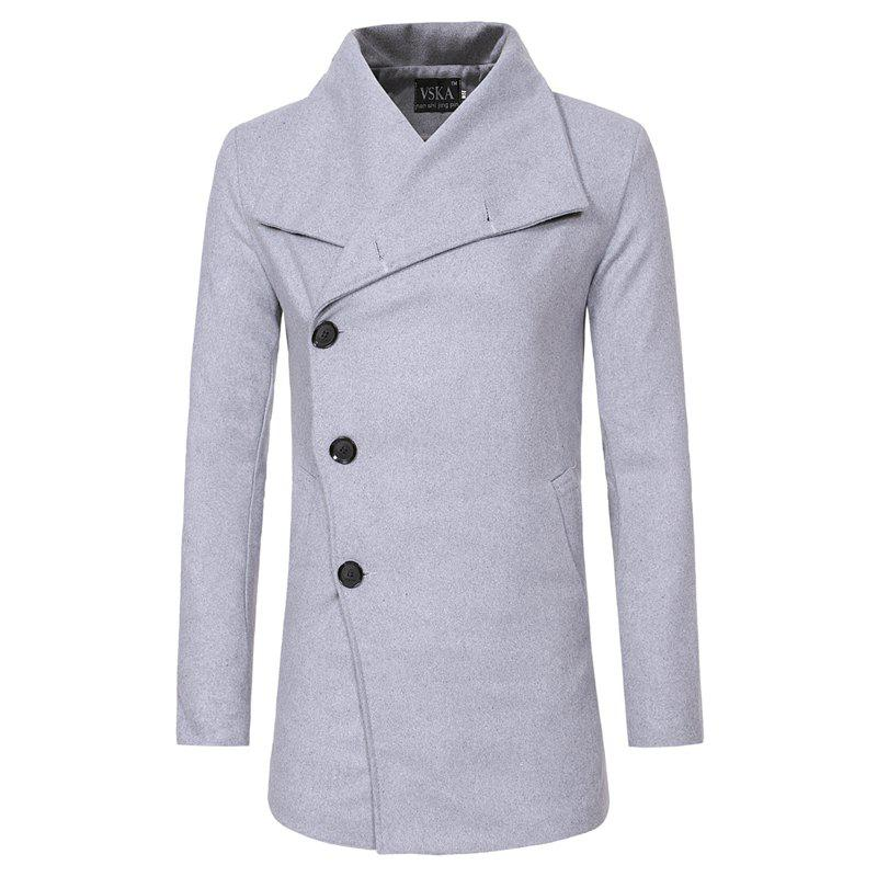 Unique 2018 Autumn and Winter New Single-Breasted Men'S Casual Slim Trench Coat