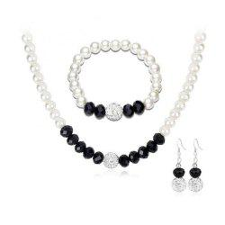 European Style Pearl Black Crystal Diamond Ball Necklace Earring Set -