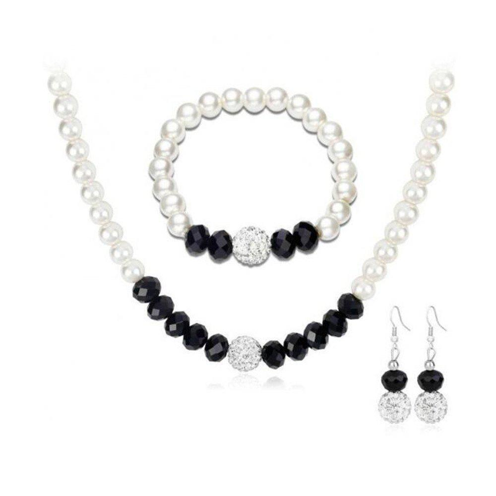Outfit European Style Pearl Black Crystal Diamond Ball Necklace Earring Set