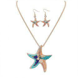 European Style Fashion Naughty Starfish Necklace Earrings Set -