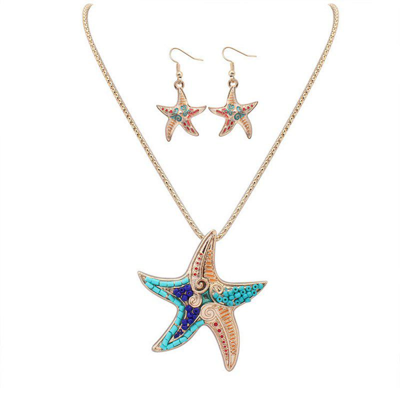 Latest European Style Fashion Naughty Starfish Necklace Earrings Set