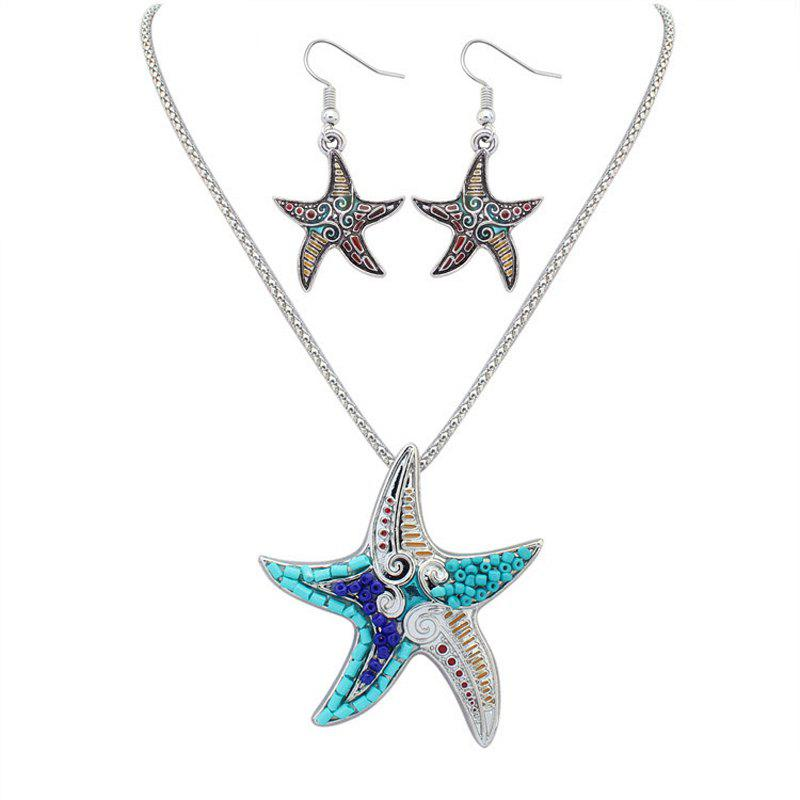 New European Style Fashion Naughty Starfish Necklace Earrings Set