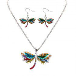 European Style Fashion Colorful Dragonfly Necklace Earring Set -