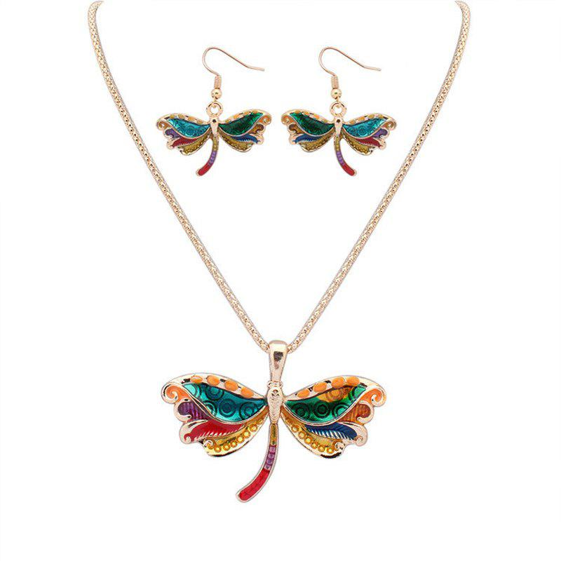Cheap European Style Fashion Colorful Dragonfly Necklace Earring Set