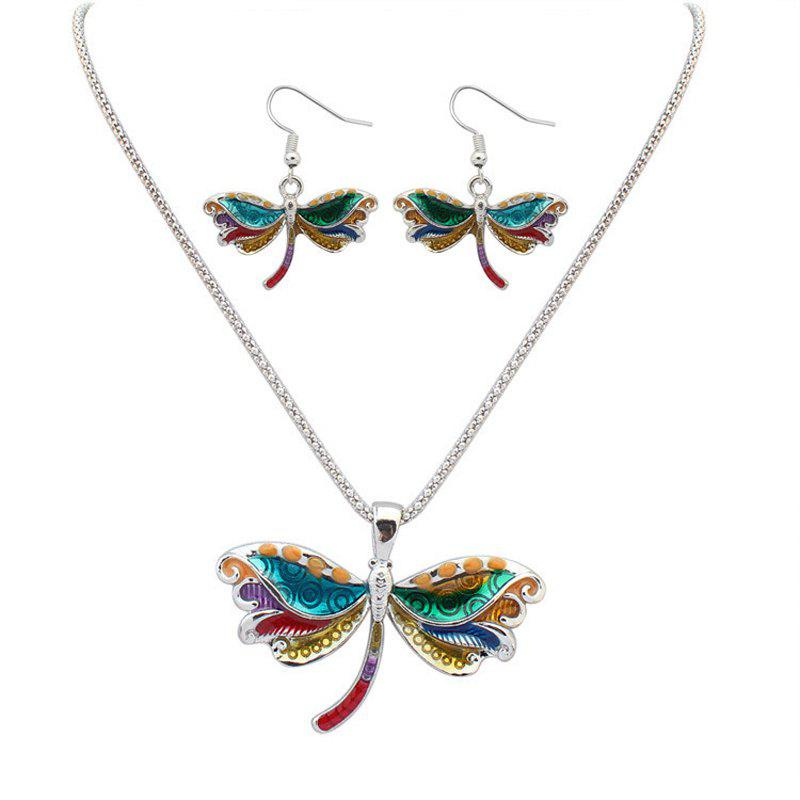 Online European Style Fashion Colorful Dragonfly Necklace Earring Set