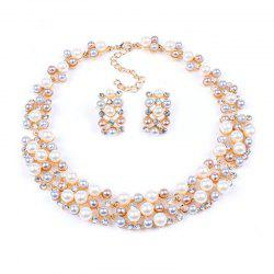 European Style Fashion Pearl Short Necklace Earrings Set Bridal Jewelry -