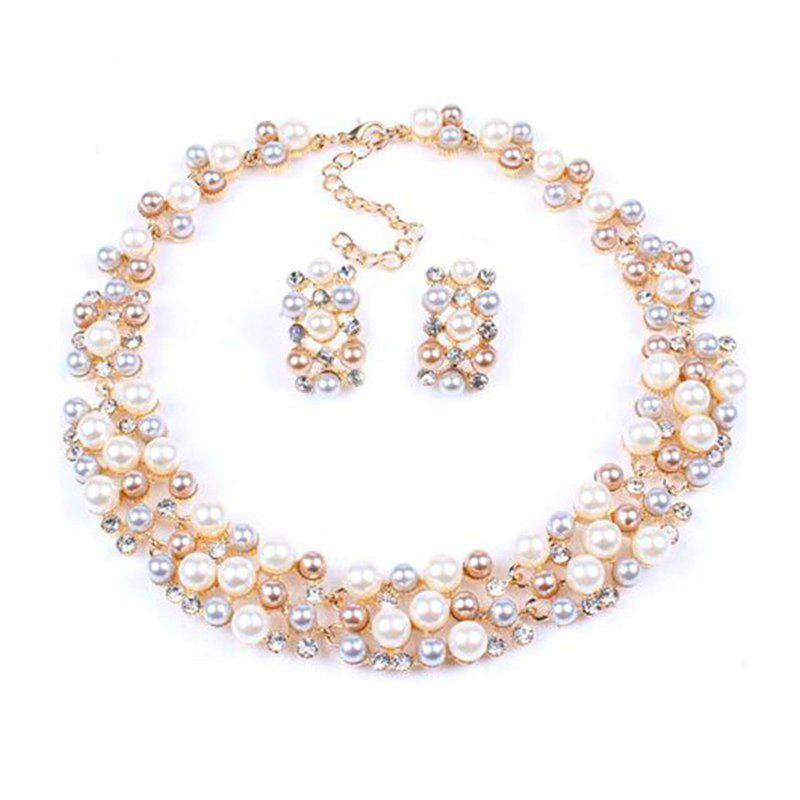 Shops European Style Fashion Pearl Short Necklace Earrings Set Bridal Jewelry