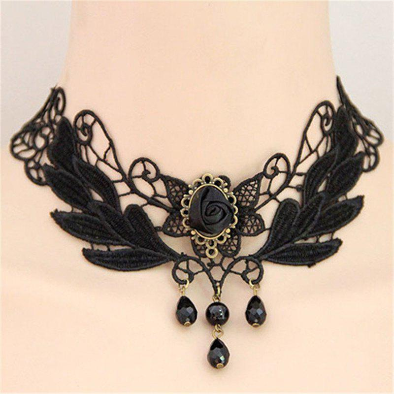 Hot European Style Fashion Vintage Lace Flower Drop Choker Necklace