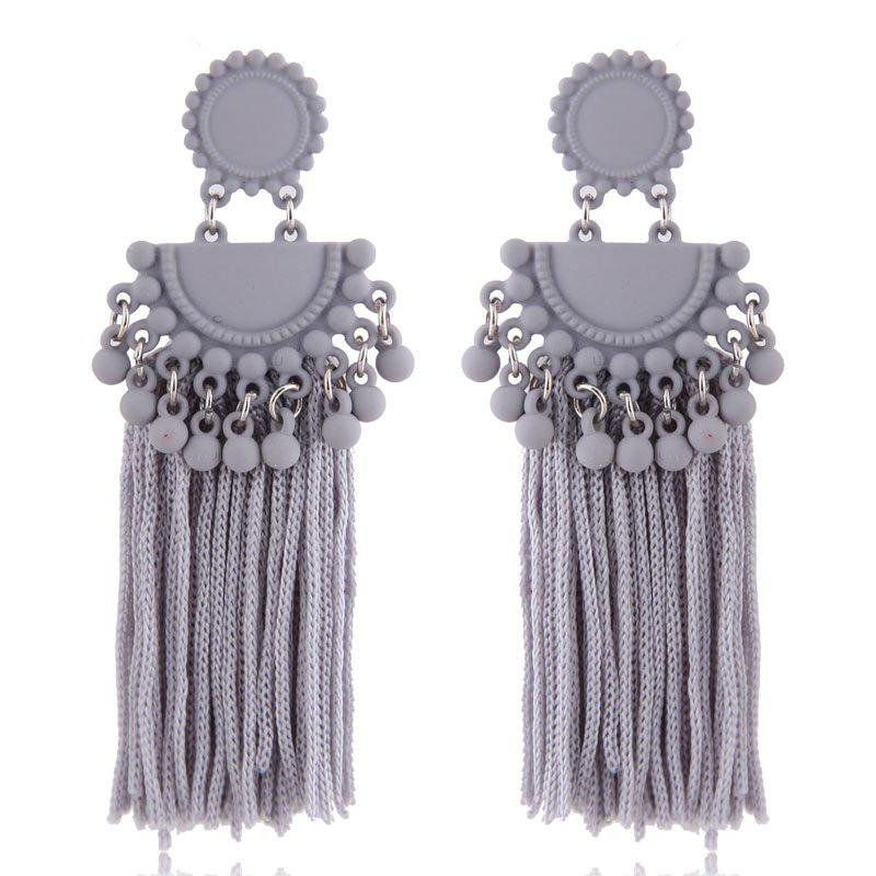 Online European Style Fashion Metal Ball Tassel Exaggerated Drop Earrings