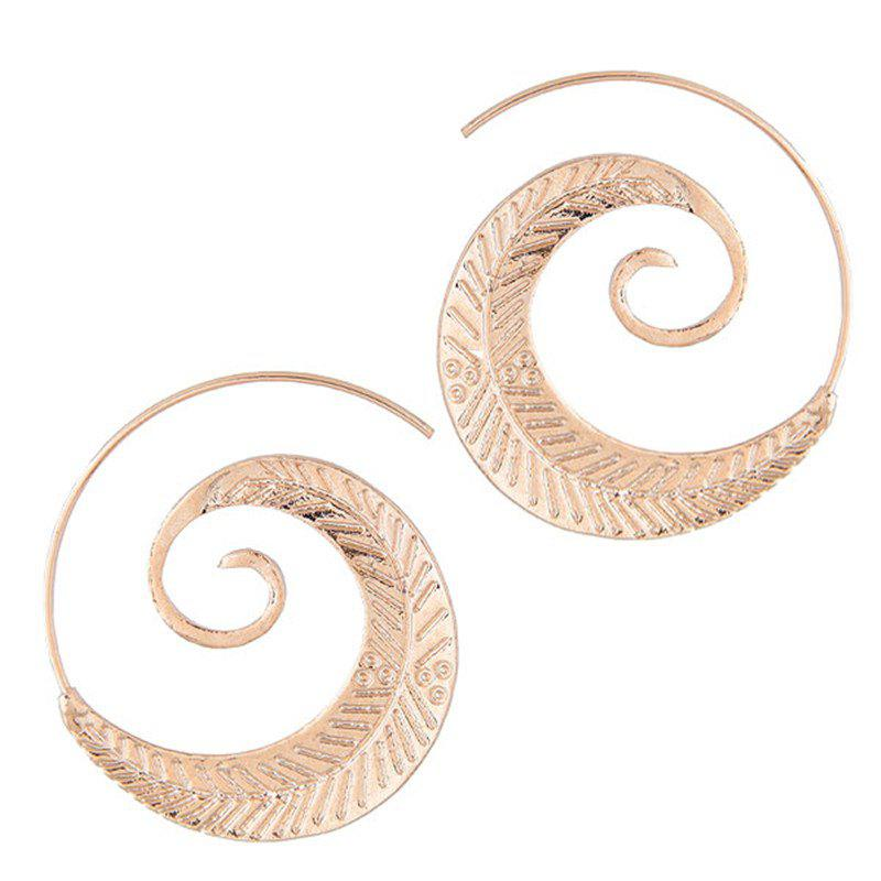 Unique European Style Fashion Metal Spiral Branches and Leaves Exaggerated Earrings