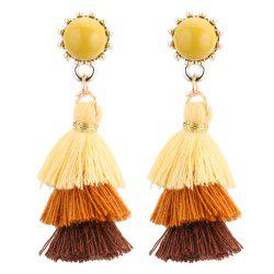 European Style Fashion Tricolor Tassel Drop Earrings -