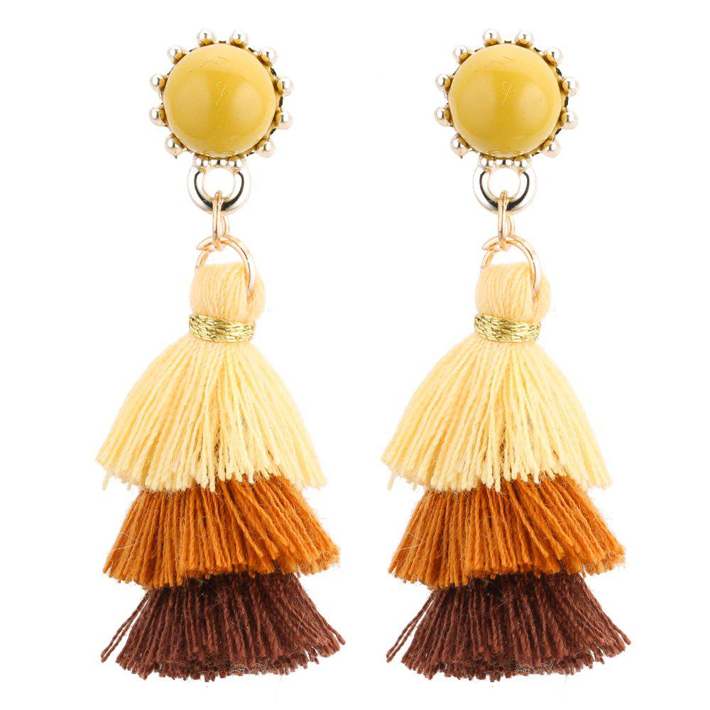 Affordable European Style Fashion Tricolor Tassel Drop Earrings