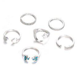 Set of Six Female Ring Simple Vintage Star Heart-Shaped Ring -