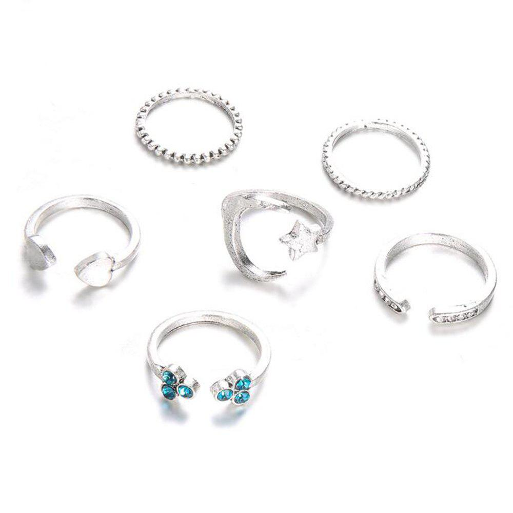 Trendy Set of Six Female Ring Simple Vintage Star Heart-Shaped Ring