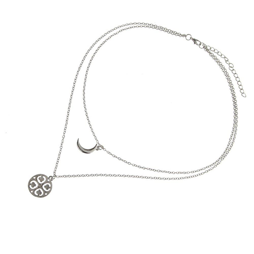 Best Ladies Fashion Hollowed-Out Love Moon Pendant Necklace Clavicle Chain
