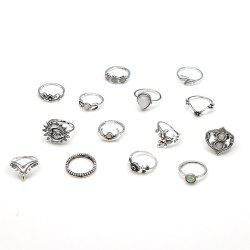 14-PIECE Women'S Fashion Ring Vintage Leaf Moon Flower Bohemian Ring -
